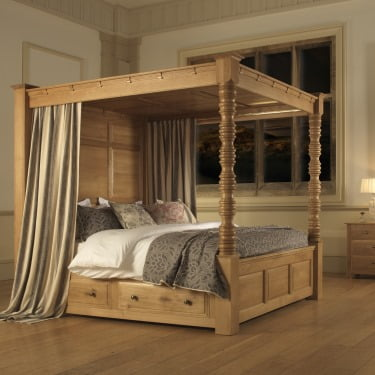 looking for a wooden four poster bed