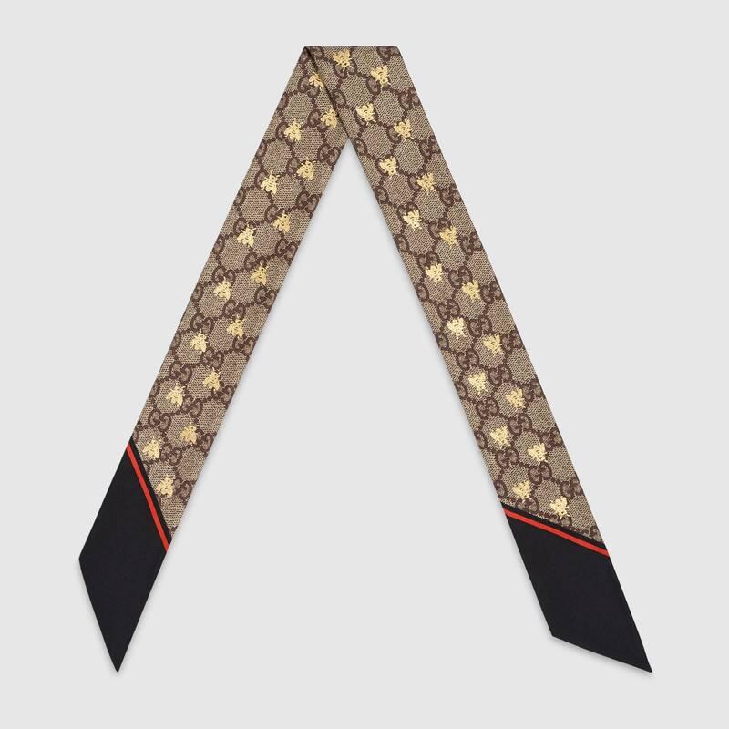 Gucci Fiocco in seta con stampa api motivo GG 499226