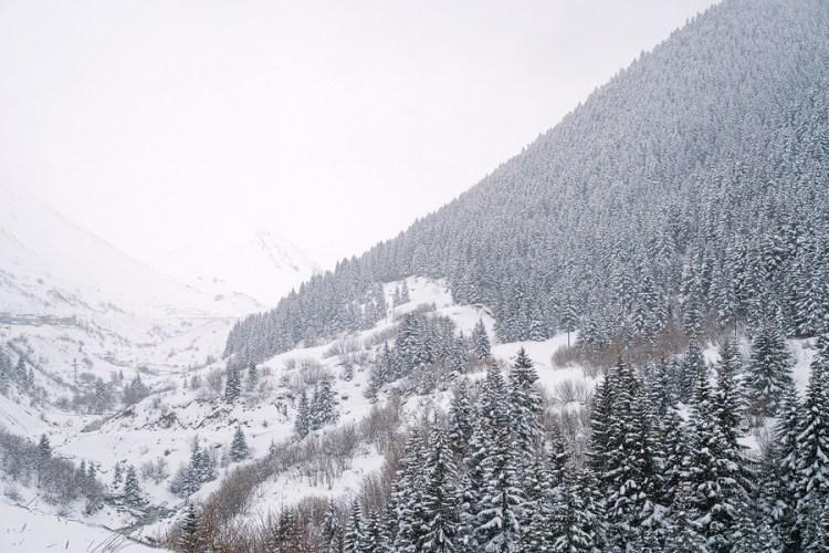 Snow stops play, south of Trabzon.