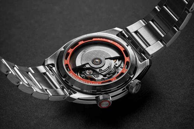 : Seen through the caseback of the Christopher Ward C65, the 38-hour power reserve automatic movement Sellita SW200 26