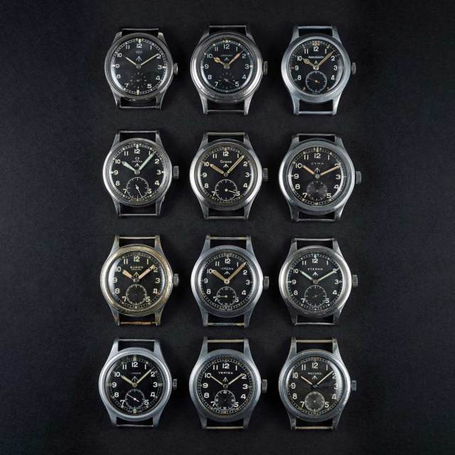 """The complete set of the """"Dirty Dozen"""" watches created by the 12 watch companies who were tasked by the UK Ministry of Defence (Image © Watches of Knightsbridge)"""