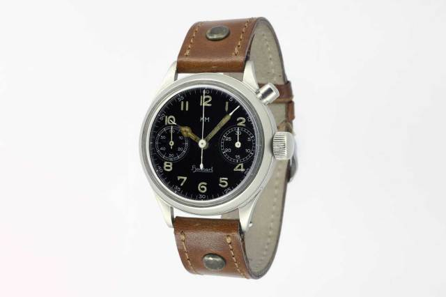 In 1938, Hanhart launched its first modern chronograph powered by the legendary Calibre 40, a monopusher movement which was utilized to create watches for the German Luftwaffe and Navy (Image: Hanhart.com)