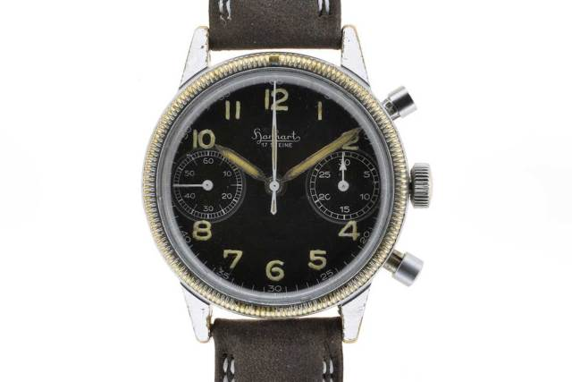 A vintage chrome-plated Hanhart 417 Flieger Chronograph showing wearing on the chrome, also known as brassing (Image: classicwatch.com)