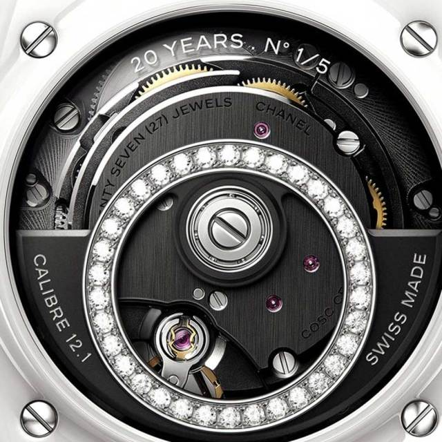 Close up of new caliber 12.1 in-house movement