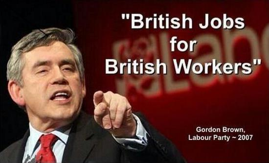 Image result for gordon brown british jobs for british workers