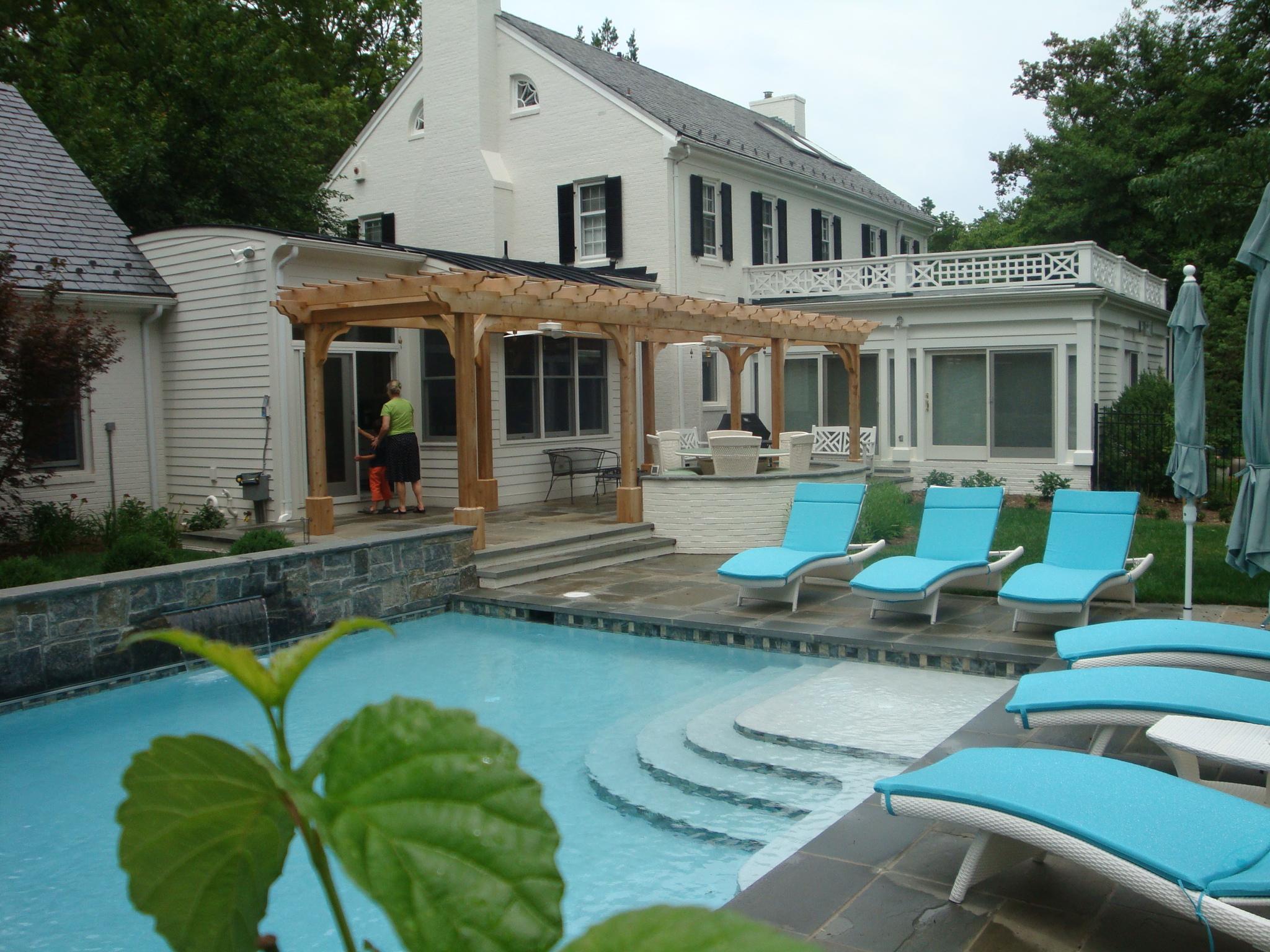 Fredericksburg Pool, Patio & Pergola Design ... on Pool Patio Design id=43629