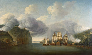 British Ships run the blockade btw. Forts Lee and Washington