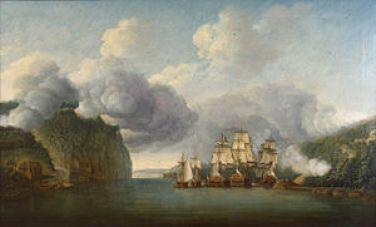 British Ships run the blockade btw. Forts Lee and Washington