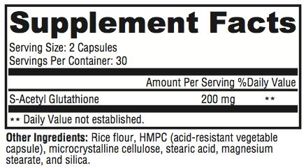 S-Acetyl Glutathione Supplement Facts