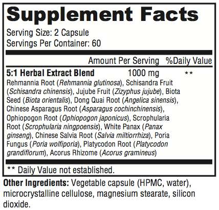 Serenity Now Supplement Facts
