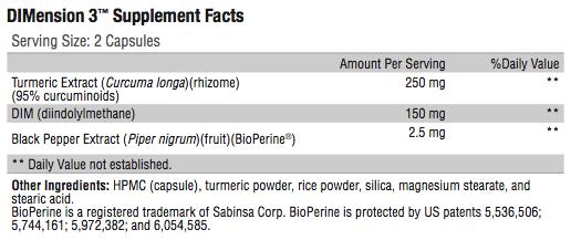 DIMension 3 Supplement Facts; Revolution Supplent