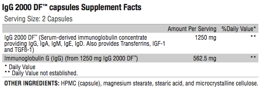 IgG 2000 Supplement Facts; Revolution Supplement
