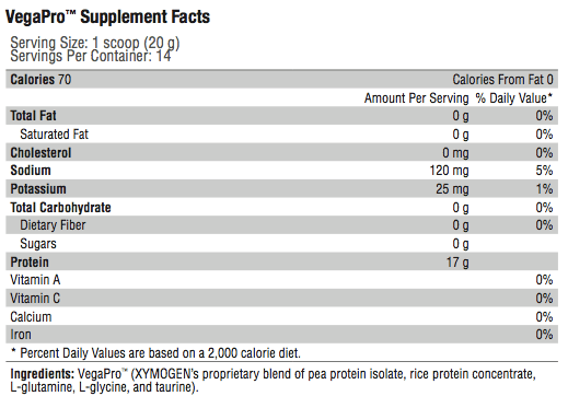 VegaPro Supplement Facts