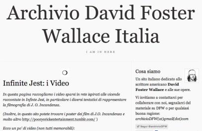 Archivio David Foster Wallace Italia. infinite Jest, i video.