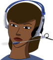 female with headphone cartoon
