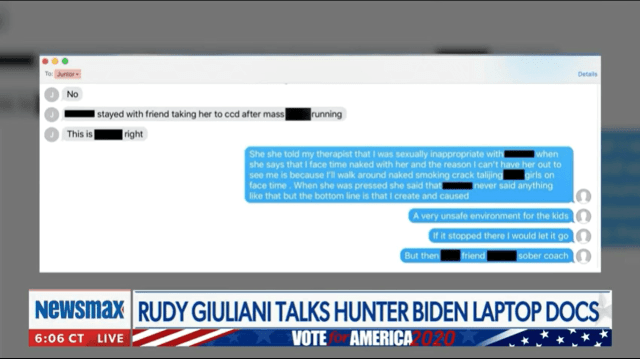 2020.10.21 02.57 revolvernews 5f8fa37caaacd Update: Earlier this week we reported on a disturbing article from Revolver claiming that the underage photos on Hunter Bidens laptop were of a family member. One America News has confirmed it was Beau Bidens daughter and they have submitted the footage to the FBI. Watch below