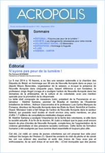 Première de couverture de la Revue Acropolis n°255