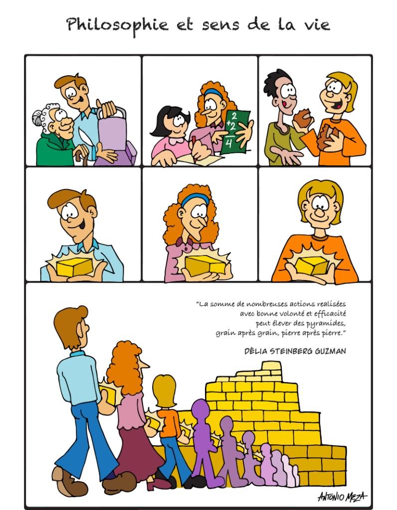 La somme de nombreuses actions réalisées avec bonne volonté et efficacité peut élever des pyramides, grain après grain, pierre après pierre