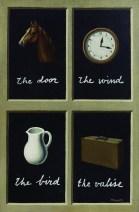 """Dans sa période des tableaux avec des mots-images, Magritte nomme les objets avec des mots autres : dans """"La Clé des Songes"""", un cheval se nommera """"the door"""""""