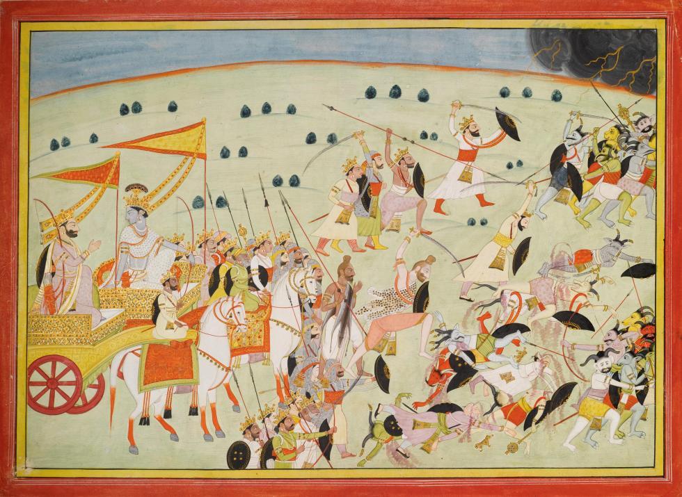 Arjuna, archer et chef de la famille des Pandavas, se retrouve au milieu du champ de bataille (Kurukshetra) où doivent s'affronter deux familles, les Pandavas et Kuravas, se disputant la possession de la ville céleste d'Hastinapura.