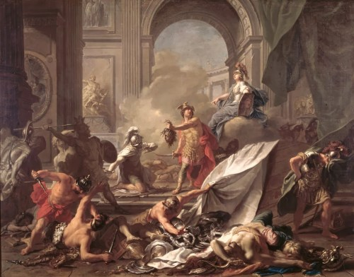 Persee pétrifiant ses ennemis avec la tête de Meduse