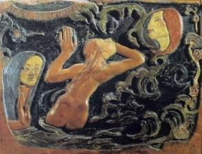 La fascination pour les belles tahitiennes fait voir à Gauguin dans ces corps fermes et impudiques, très proches de la nature.