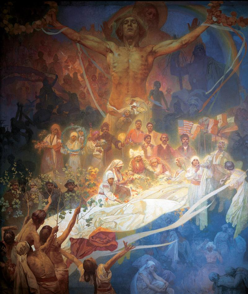 """Mucha conçoit son projet de la fresque monumentale de l'Épopée Slave entre 1899 et 1900 comme """" une lumière grande et glorieuse qui, avec ses idéaux purs et ses ardents avertissements, illumine l'esprit de tous les gens """" ."""