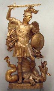 Saint-Michel'est l'image du chevalier terrassant le dragon, parce que la volonté réussit à contenir les instincts.