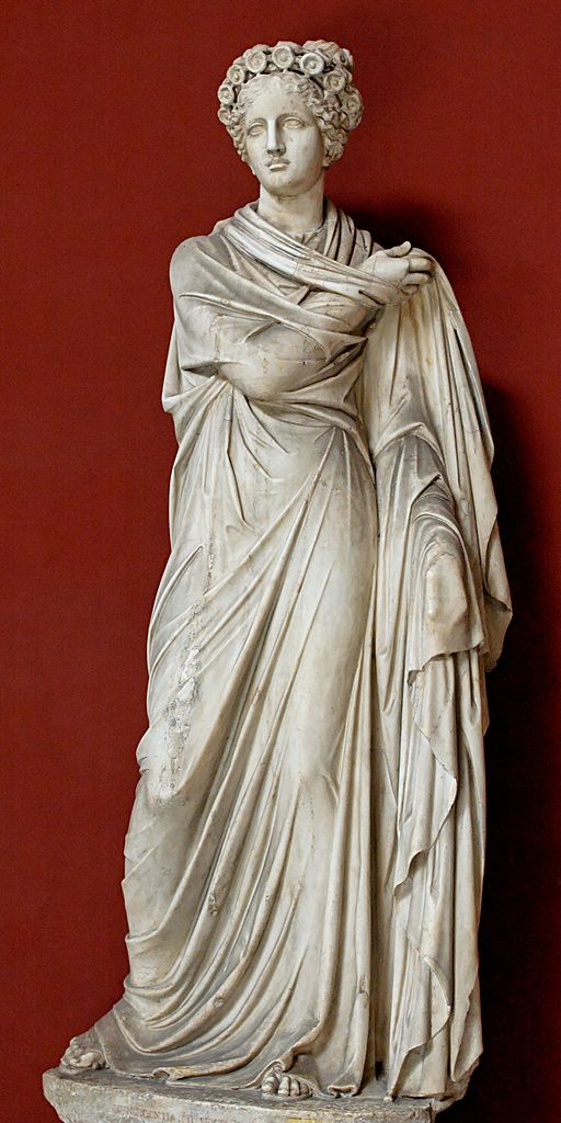 Polymnie, dernière des neuf muses, dédiée à la poésie sacrée, aux hymnes et aux danses rituelles.