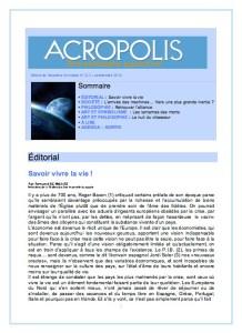 Première de couverture de la Revue Acropolis n°233