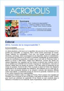 Première de couverture de la Revue Acropolis n°226