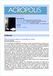 Première de couverture de la Revue Acropolis n°230