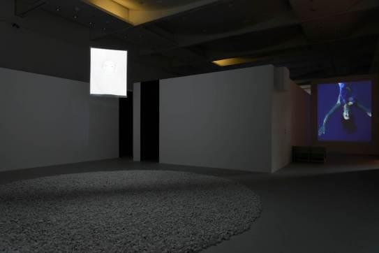 Fig. 8 : Suaire (1997) et Tombe (avec les objets) (1997), exposition « Entrevoir. Robert Cahen », © Nicolas Fussler.
