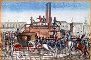 Exécution de Louis XVI sur l'actuelle Place de la Concorde à Paris le 21 janvier 1793