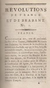 Révolution de France et de Brabant, journal paru dès novembre 1789 et fondé par Camille Desmoulins