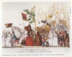 Caricature à l'effigie de la vente des biens nationaux « Le déménagement du Clergé. J'ai perdu mes bénéfices, rien n'égale ma douleur »