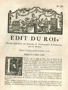 Edit portant suppression des Jurandes & Communautés de Commerce, Arts & Métiers