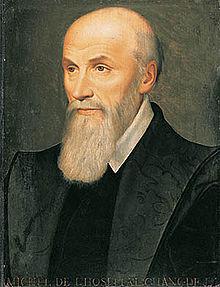 Michel de l'Hospital (1506-1573) Chancelier de France à partir de 1560, il doit sa notoriété à la politique de conciliation dont il fut le chantre. Il était en fonction lors de l'adoption de l'Édit des Moulins qui consacre l'inaliénabilité du domaine de la Couronne qui limite également le droit de remontrance des Parlements.