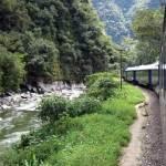Train to Machu Picchu winds through river gorge