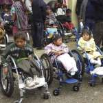 Clients settle into their new wheelchairs in Totonicapán