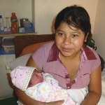 Young mother and her newborn at the AMA clinic