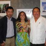 Harry Diaz, left, with Festival hosts