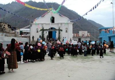 Gathering in front of the church, Santa Cruz