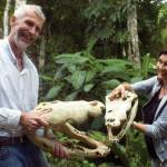 Crocodile skulls held by Petén jungle guide Marco Gross, and Gabriella Moretti, owner of Ecolodge El Sombrero in Yaxhá (www.ecolodgeelsombrero.com)