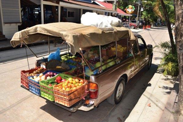 Fresh fruit truck, West End, Roatan