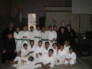 Group shot of students just before their upper belt test (photo by Jake Parhan)