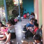 More than 30 children attend art class every Saturday morning