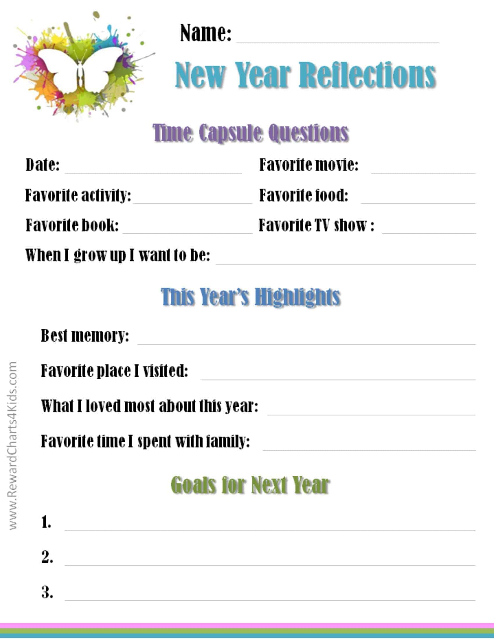 New Year Reflections Worksheet