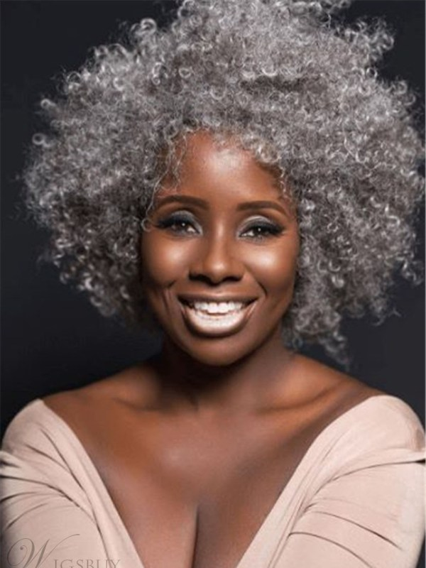 Natural Grey Culry Synethci Hair Wig For Old Black Women ...