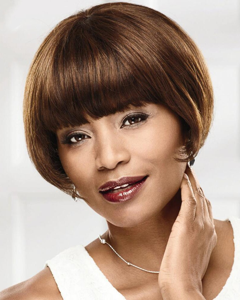 Short Chic 100 Human Hair Bob Wigs With Blunt Brow